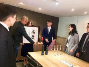 Celebrations at Sarine's office in Hong Kong